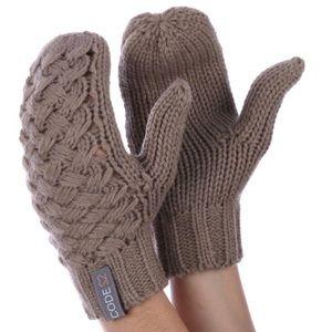 Khaki Basket Weave knit Mittens